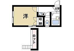 奈良県奈良市芝辻町1丁目の賃貸アパートの間取り