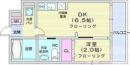 仙台市地下鉄東西線 川内駅 徒歩19分の賃貸マンション 5階1DKの間取り