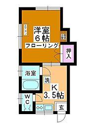 持田ハイツ[102号室]の間取り