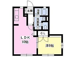 ラフィーネ箕田B棟 1階1LDKの間取り