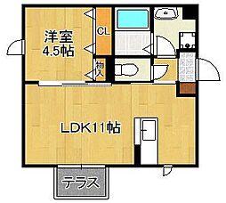 Polonia Matsubara B棟 1階1LDKの間取り
