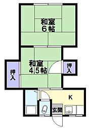 兵庫県神戸市兵庫区菊水町9丁目の賃貸アパートの間取り