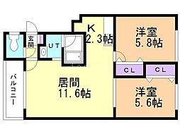 パラドール21 2階2LDKの間取り