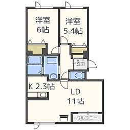 北海道札幌市北区篠路三条2丁目の賃貸アパートの間取り