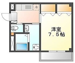 JR山陽本線 五日市駅 徒歩9分の賃貸マンション 1階1Kの間取り