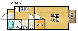 大阪府泉佐野市下瓦屋1丁目の賃貸アパートの間取り