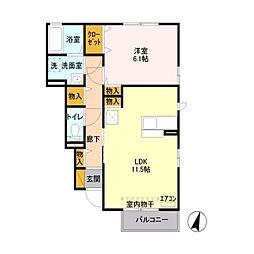 トミユウ・ウチガワラ[1階]の間取り