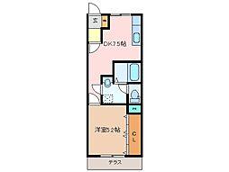 三重県松阪市本町の賃貸アパートの間取り