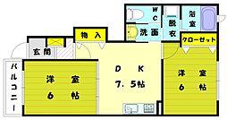 福岡県福岡市東区美和台4丁目の賃貸アパートの間取り