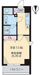 COURT TAKETOKUIII 7階1Kの間取り