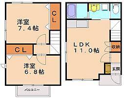 タウンハウスパステル[2階]の間取り