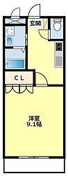 名鉄豊田線 浄水駅 4.5kmの賃貸アパート 2階1Kの間取り