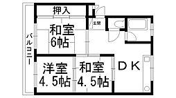 東香里コーポ[0301号室]の間取り