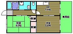 コーポYOU壱番館 1階2DKの間取り