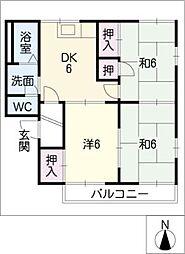 サンコーポ蔵子 A棟[1階]の間取り