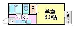 兵庫県尼崎市東園田町8丁目の賃貸アパートの間取り