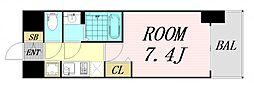 ファステート難波グランプリ 8階1Kの間取り