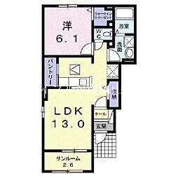 JR宇野線 八浜駅 7.6kmの賃貸アパート 1階1LDKの間取り