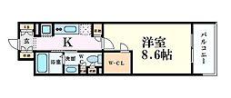 コンフォリア北堀江一丁目 4階1Kの間取り