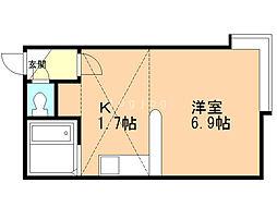 メゾン・ド・リラ(旧プチメゾンリラ) 1階1Kの間取り