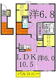 千葉県野田市清水公園東2丁目の賃貸アパートの間取り