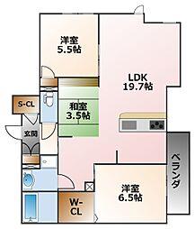 リラサーレ甲子園高潮町[3階]の間取り