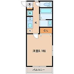 コモンリード華孝 3階1Kの間取り