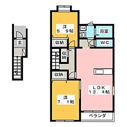 仮)H・K賃貸アパート6期B棟[2階]の間取り