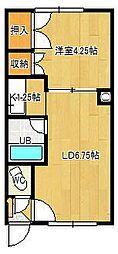 本町コーポ 2階1LDKの間取り