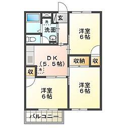 ピュアシャルム2[2階]の間取り