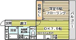 金川マンション[2階]の間取り