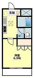 愛知県岡崎市大平町字岡田の賃貸アパートの間取り