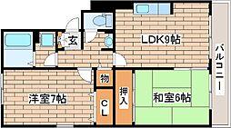 兵庫県神戸市灘区灘北通3丁目の賃貸マンションの間取り
