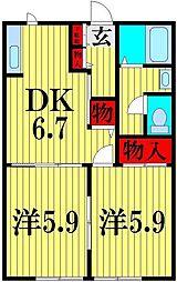 埼玉県越谷市赤山町3丁目の賃貸アパートの間取り