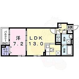 阪急千里線 千里山駅 徒歩17分の賃貸アパート 1階1LDKの間取り