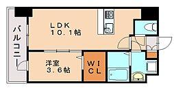 レジデンス22 2階1LDKの間取り
