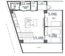 バス 仲井真下車 徒歩5分の賃貸アパート 3階2LDKの間取り