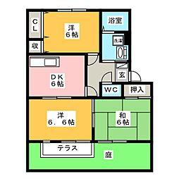 サンガーデン西改田[1階]の間取り