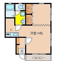 宮崎県宮崎市城ケ崎2丁目の賃貸アパートの間取り