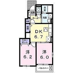 広島県福山市神辺町字上御領の賃貸アパートの間取り