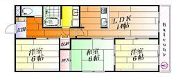大阪府吹田市佐井寺2丁目の賃貸マンションの間取り