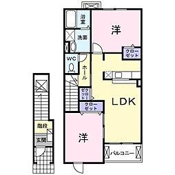 三重県鈴鹿市寺家3丁目の賃貸アパートの間取り