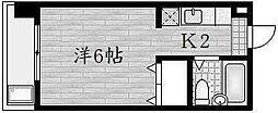 京都府京都市山科区八軒屋敷町の賃貸マンションの間取り