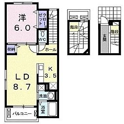 デュール・リアンII 3階1LDKの間取り