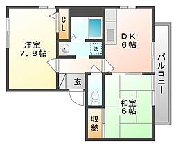 岡山県岡山市南区福島1丁目の賃貸アパートの間取り