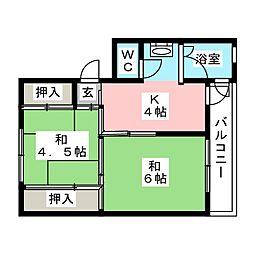 ビレッジハウス笠原2号棟[4階]の間取り