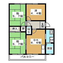 ジュネローザ宝ヶ池[2階]の間取り