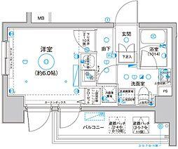 Le'a横濱サウスステージ 11階1Kの間取り