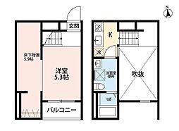 名鉄瀬戸線 守山自衛隊前駅 徒歩5分の賃貸アパート 2階1Kの間取り