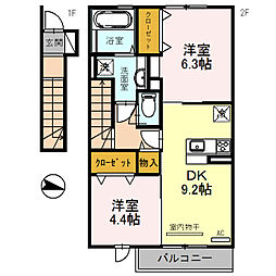 エクレール福井[206号室]の間取り